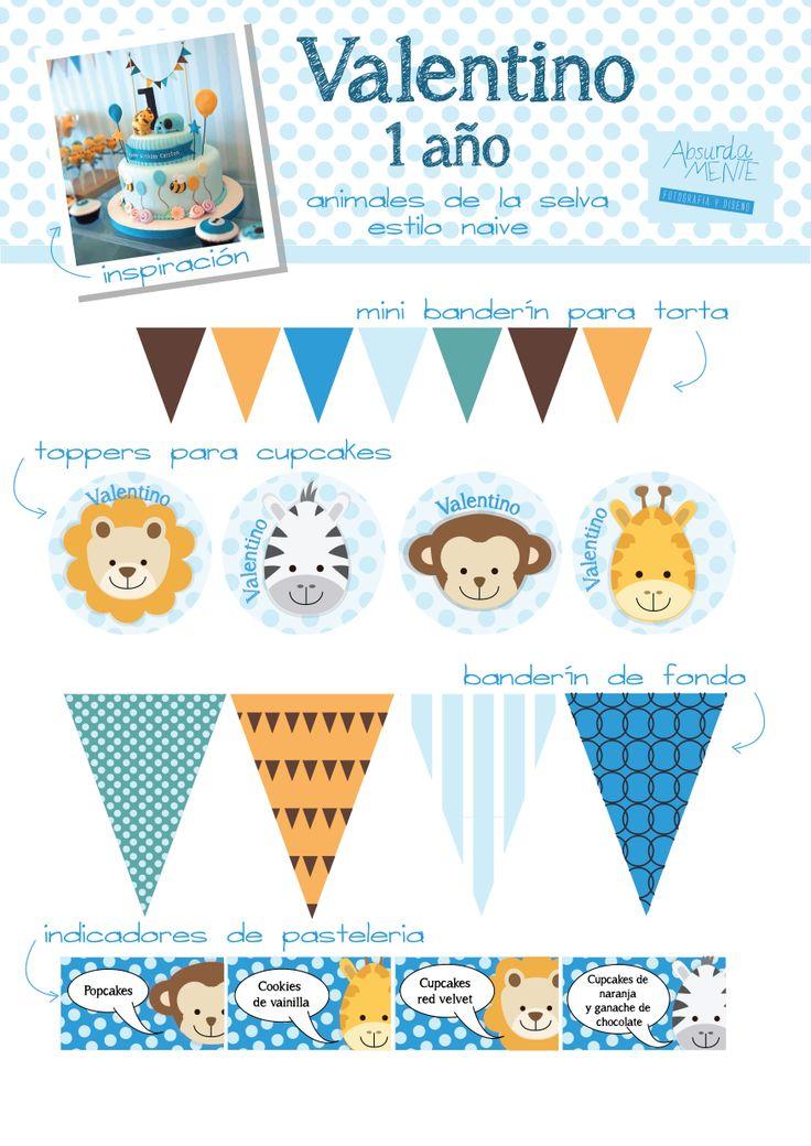 gráfica para el cumple de 1 año de Valentino: banderín para torta - toppers para cupcakes . banderín de deco para el salón e indicadores de pastelería para la mesa dulce.   diseño: Absurda Mente  más en: www.facebook.com/absurda.mente2