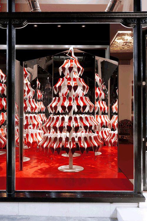 A christmas tree made out of shoes ! Christian Louboutin unveils Christmas windows 2012 | Retail Focus Magazine - The home of Retail design inspiration.