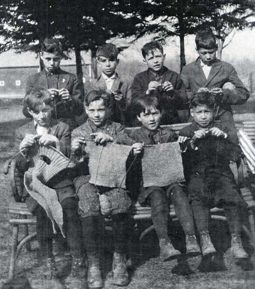 Children from St Benedicts Mission School knit for the Red Cross during World War I, 1916