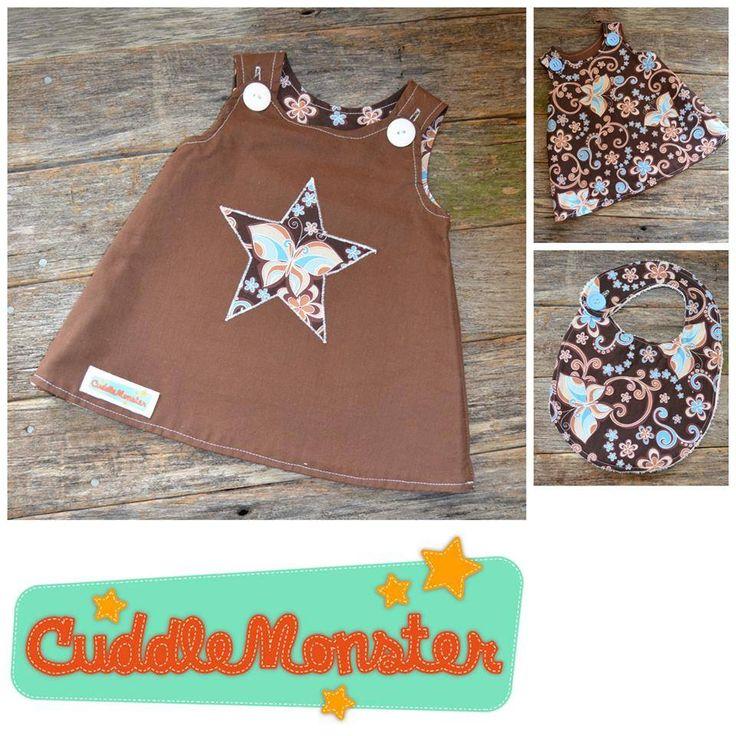 Handmade by Cuddlemonster Reversible pinny with matching bib