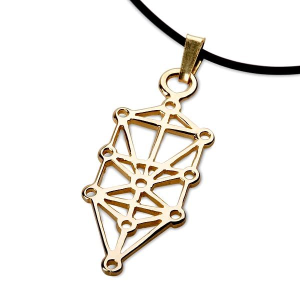 """Tree of Life Pendant - Gold - A Golden Symbol of Life, Unity, and Love. """"32 paths of secret wisdom""""  Tree of Life is one of the most recognized symbols of sacred geometry.  The structure of the Tree of Life is connected to the sacred teachings of the Jewish Kabbalah but can be seen in other traditions as well, such as the ancient Egyptian tradition.   The Tree of Life is explained in Sefer Yetzira (""""Book of Creation"""")."""