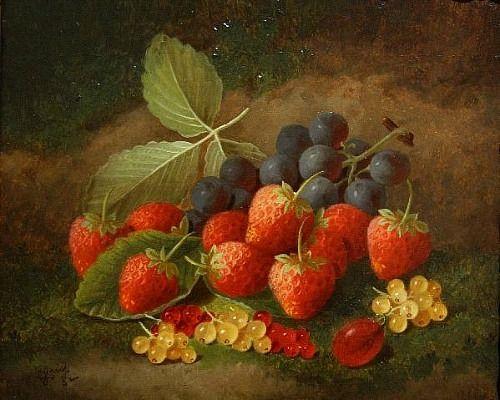 George Crisp, Still Life with Strawberries, 1882