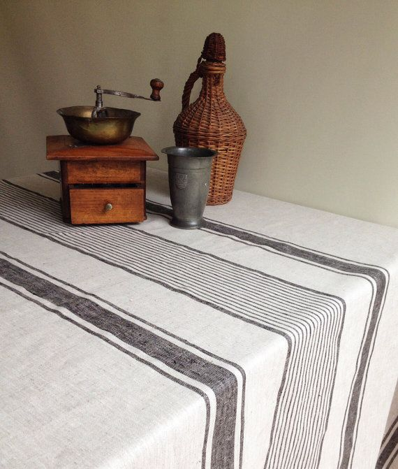 Christmas Linen Tablecloth French Country Rustic By Linenbeeshop