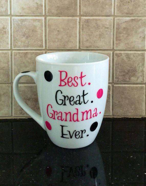 Best great grandma ever coffee mug in pink and by GlitzyGlitterGal