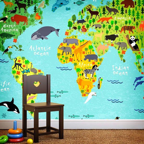 Fotomurales: Mapamundi infantil de animales y naturaleza. Ideas decoracion para habitación infantil #fotomural #infantil #TeleAdhesivo