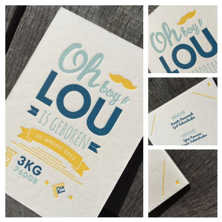 Birth Announcement Card LOU - Design by Head Office - Proudly printed in Belgium by www.letterpressgust.com  #birthcard #letterpress #drukkerijdirix