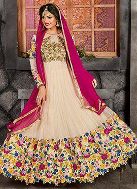 Cream Art Silk Net Abaya Style Anarkali Suit