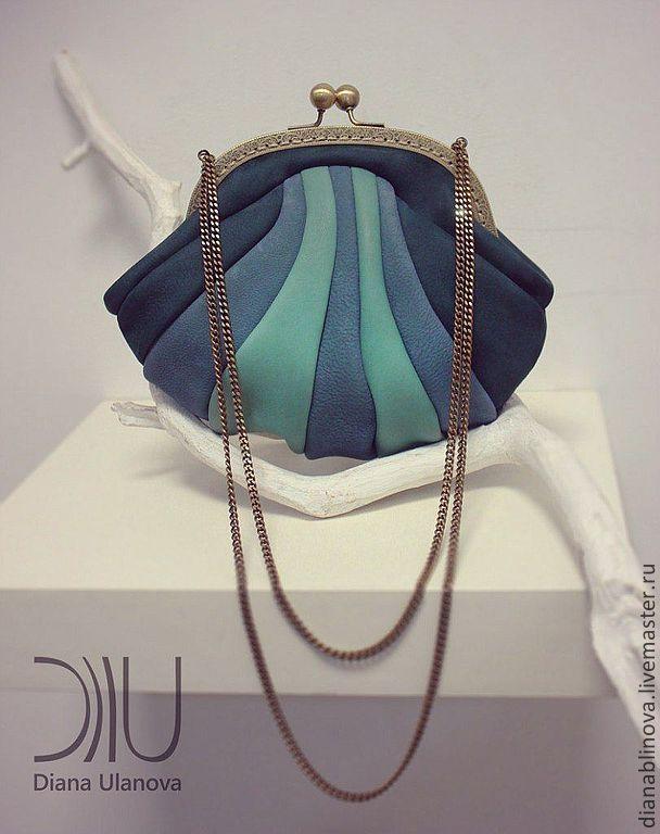 Купить Кошелек-сумочка мини - тёмно-бирюзовый, сумка женская, кошелек с фермуаром, кошелек из кожи