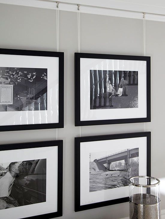 "Photo Gallery for a more ""stylish"" look - convert all photos to black and white or sepia... or if you want color... what if they are all monochromatic sky blue? can you imagine a beach house with blue tone photographs?"
