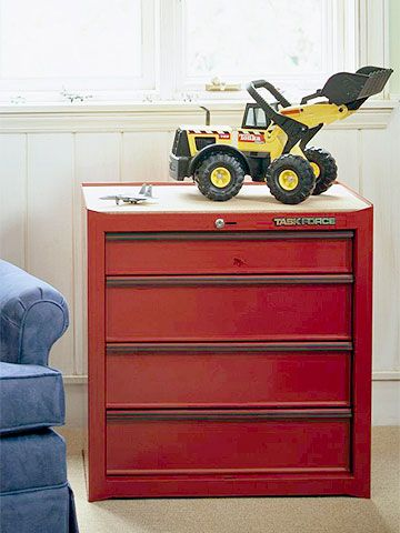 Heavy-Duty Chest of Drawers - bright, red toolbox as a chest of drawers. Cute for a little boy's room. :)