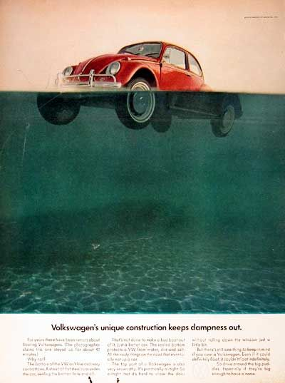 """1967 Volkswagen Beetle original vintage advertisement. Photographed in rich color. This Beetle floated for 42 minutes. Best copy: """"...keep in mind... even if it could definitely float, it couldn't float indefinitely. So drive around the big puddles. Especially if they're big enough to have a name."""""""