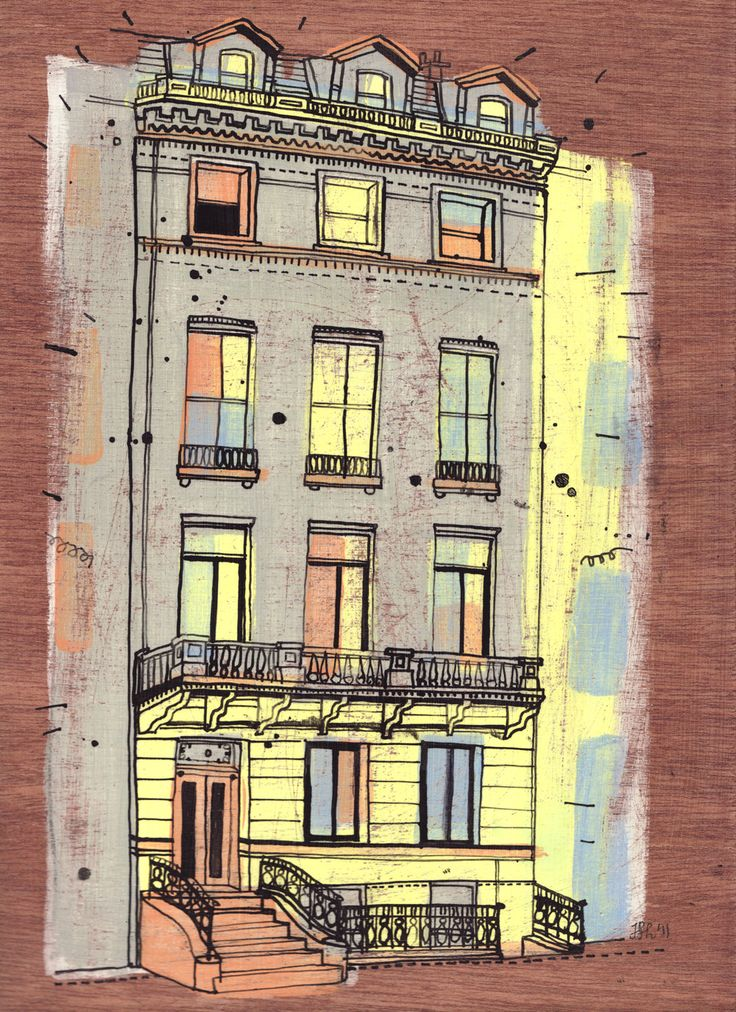 17 East 70th St., NY. Part of project to draw all buildings in New York by James Gulliver Hancock