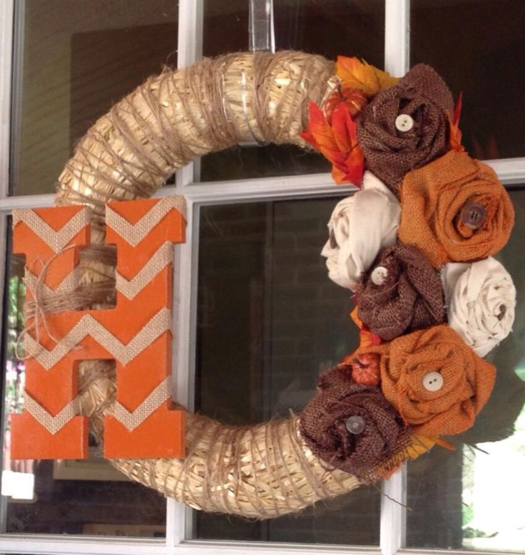 Fall Straw and Burlap Wreath with Custom by GreenMeadowsBoutique