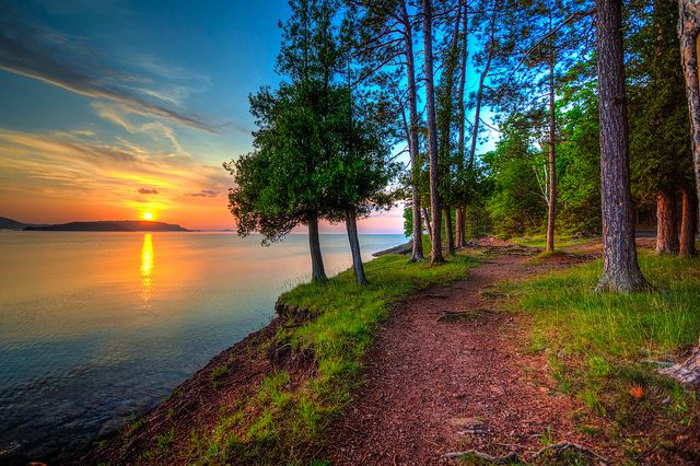 Sunset at Presque Isle Park, Marquette, Michigan