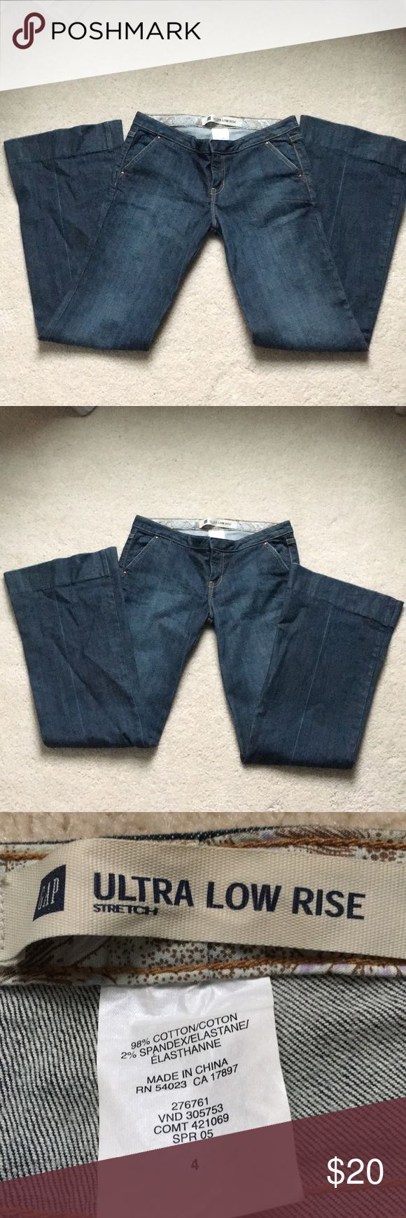 GAP  ultra low rise jeans. Size 4 Dark rinse GAP jeans EUC. Inseam 32 in. Waist 31 in. GAP Jeans Flare & Wide Leg
