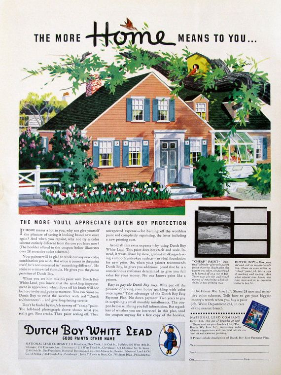 1937 Dutch Boy White Lead Paint Ad  More Home by RetroReveries