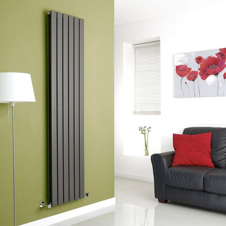Milano Alpha Anthracite Grey Vertical Double Slim Panel Designer Radiator On Green Wall