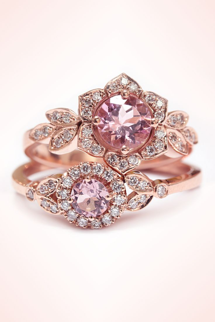Rose Gold Engagement Ring, Pink Tourmaline Ring, Cluster Ring, Vintage Rings, Leaf Ring, Art Deco Ring, Unique Engagement Ring