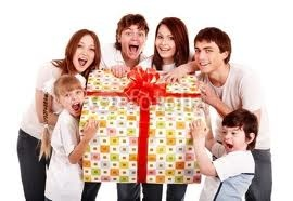 Family enjoying presents
