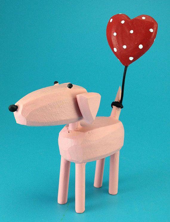 cane rosa con palloncino cuore di bunnywithatoolbelt su Etsy