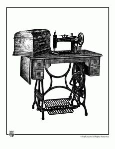 vintage sewing machine print 231x300 Free Printable Vintage Clip Art   Victorian Fashion, Home & Family Images