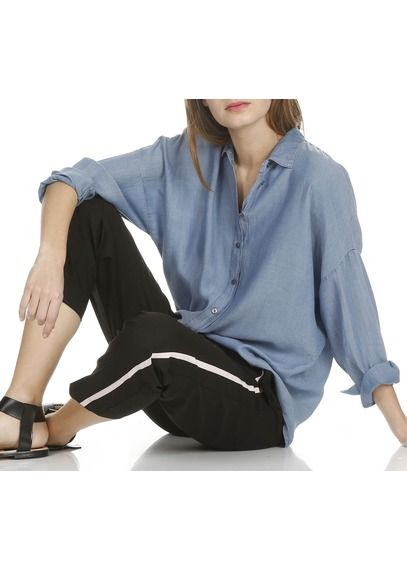Chemise col classique ample en jean Jean brut by LA FEE MARABOUTEE