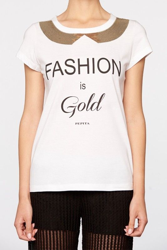 T-shirt bianca con paillettes dorate e scritta