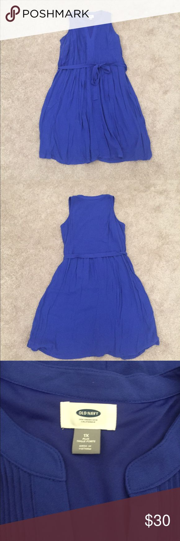 Old Navy Smocked Dress -1X - Royal Blue No tags, but never worn, Old Navy Smocked Top Dress!  Size 1X, beautiful blue color. Bought from the plus section of the site. Has a tie that can be removed. Shows some deodorant under arms from trying it on. Old Navy Dresses