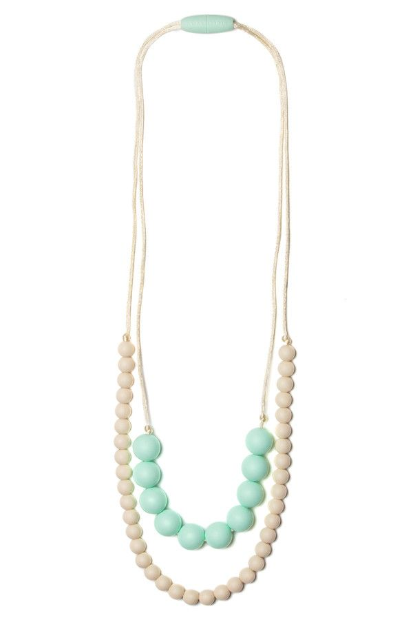 Deila Silicone Teething Necklace Sweet Mint & Cream | Mama & Little Silicone Teething Jewelry. for Nellie
