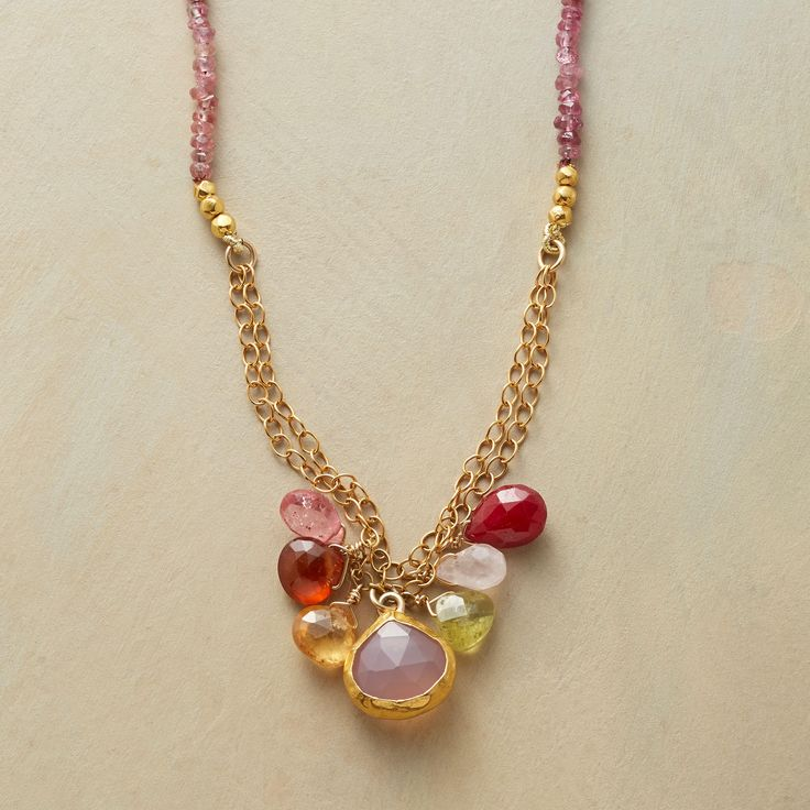 "PRIMARILY PINKS NECKLACE -- Nava Zahavi wraps a pink chalcedony in  24kt gold, a treasure amid a mix of gemstones of hessonite garnet, pink chalcedony, ruby and pink topaz on a strand of pink tourmaline and 14kt goldfill links. Hook clasp. Handmade. Exclusive. Approx. 16-1/2""L."