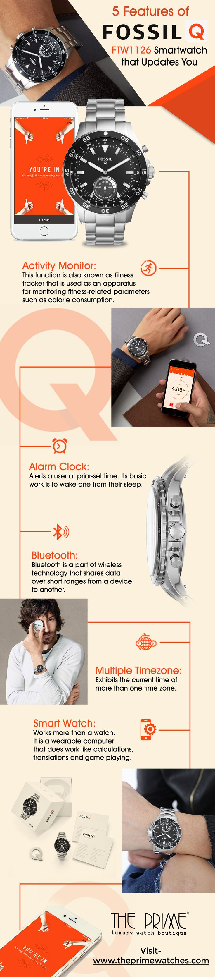 Smartwatches are in vogue in this new millennium. Fossil is one of the leading watch brands that make these kinds of watches with super brilliance. The Fossil Q FTW1126 watch has functions like activity monitor, alarm clock, Bluetooth, multiple time-zones and smart watch that enables it to work like a wearable computer.