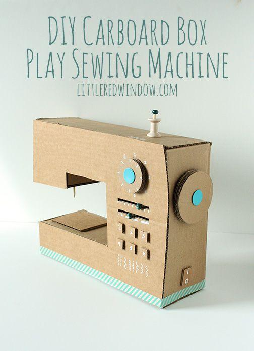 DIY Cardboard Box Play Sewing Machine   littleredwindow.com