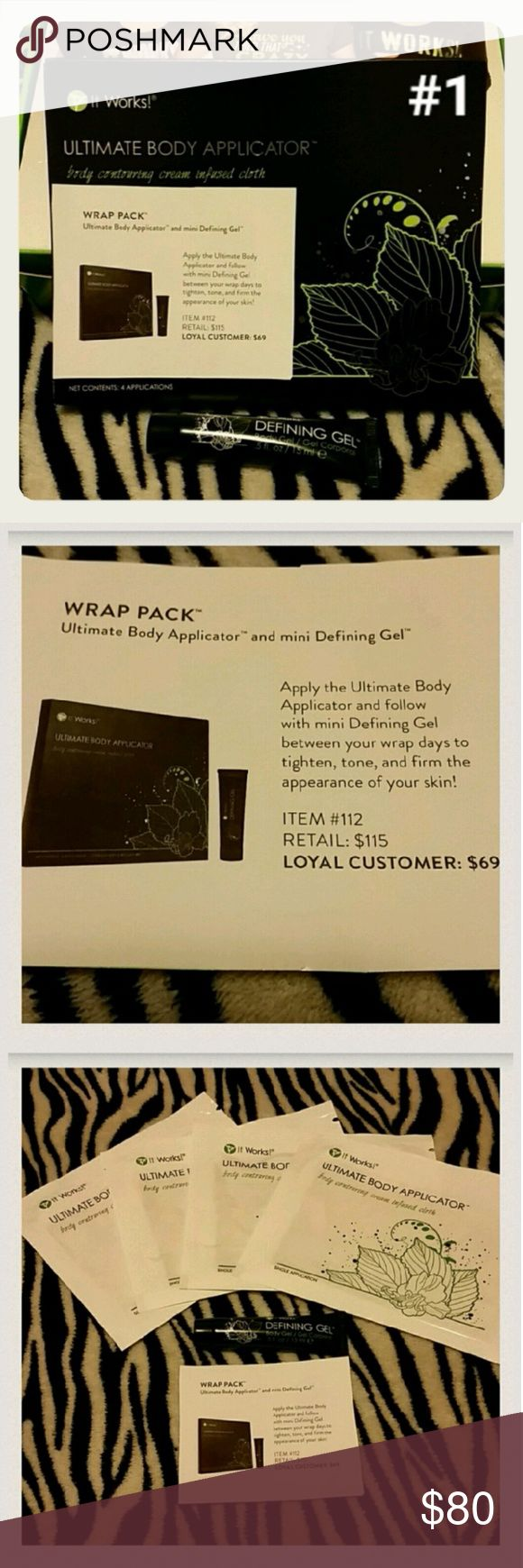 It Works Wrap Pack WRAP PACK from It Works! Ultimate Body Applicator(4 wraps) & mini Defining Gel. Apply the Ultimate Body Applicator and follow with mini Defining Gel between your wrap days to tighten, tone, and firm the appearance of your skin! Open to offers and I love to BUNDLE! It Works! Other