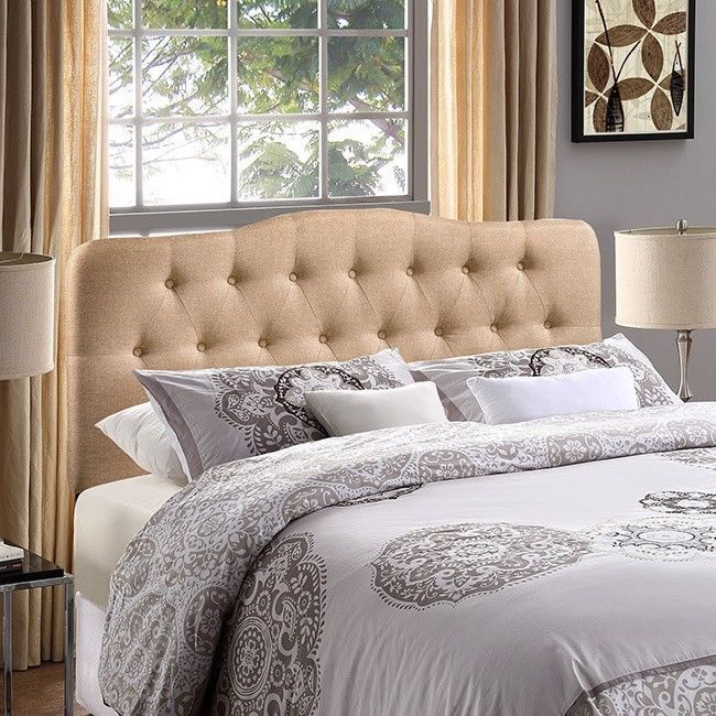 Fabric Upholstered Headboard Queen Bed  Bedroom Furniture Tufted Frame Bedding…