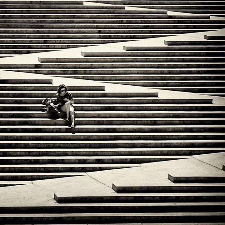 Robson Square stairs, downtown Vancouver, British Columbia. photo by Dean Bouchard