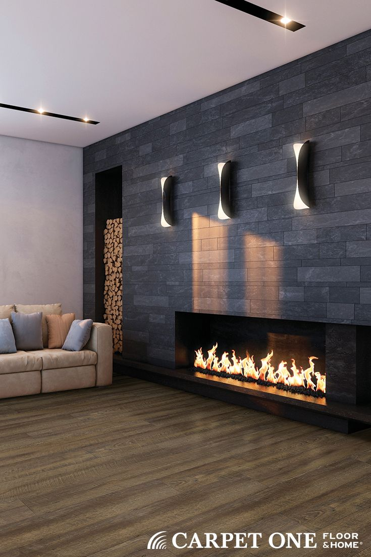 Cozy modern fireplace and cozy modern VINYL floors. Luxury vinyl tile is a great choice for rooms that have moisture or  spaces that need durable flooring.  Invincible Luxury Vinyl Tile available at Carpet One.
