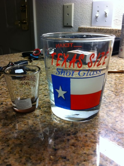 Texas sized shot glass