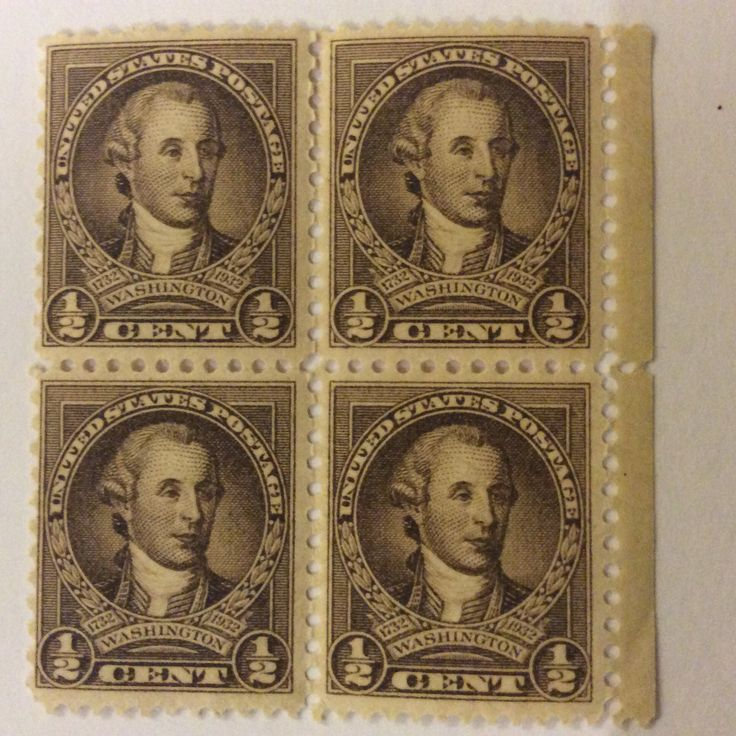 1932 Geo Washington 1/2 cent US Stamp, Block of 4.