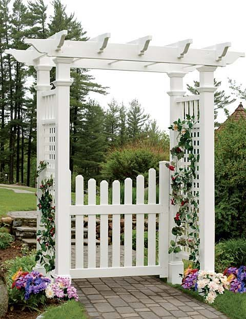 I like this idea for an arbor gate in the front/side yards. I would probably choose a different type of picket though, and make it out of real wood instead of vinyl. But maybe not.