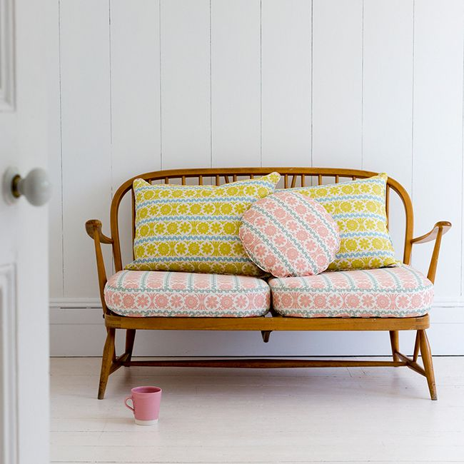 Angie Lewin Sofa cushions | St Judes | Pastel colours | The Relaxed Home blog