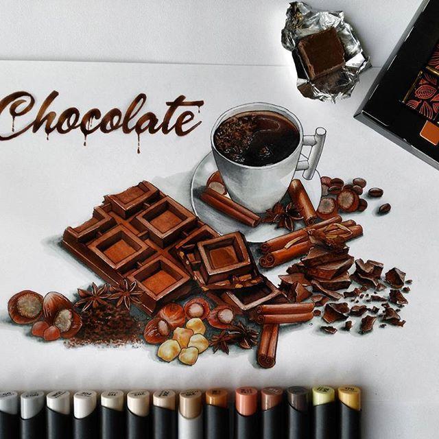 Шоколад с шоколадом, посыпанный шоколадом....бооольше шоколааадааа...😋☕🍫 #скетчмарафон_сладкий_ноябрь с @janelip.art, @sketchpark, @art_markers, @tsusketch, @touchmarkers.ru и @letitprint  #скетчбук #скетчинг #stylefile #markers #art_markers  #sketch #sketchbook #art #шоколад #chocolate