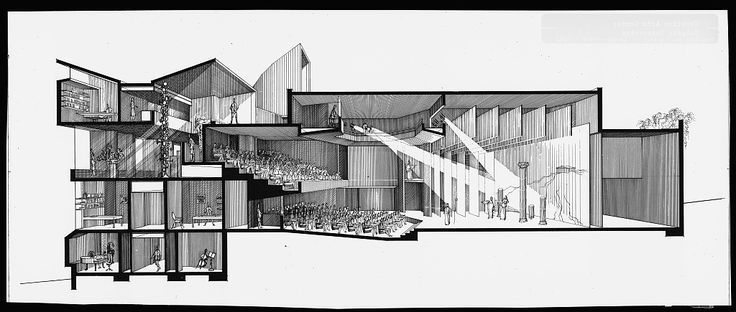 [Creative Arts Center (Dana Arts Center), Colgate University, Hamilton, New York. 1964, Perspective section rendering]