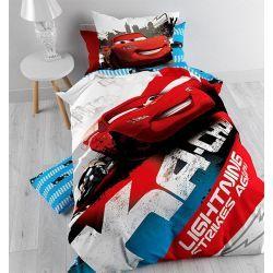 """Sympa la parure de lit Cars """"Strike"""" pour lit 1 personne composée d'une housse de couette et d'une taie 100% coton !"""