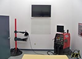 The VRTEX 360, virtual reality arc welding training system can project on an external monitor for a classroom to view welding training together