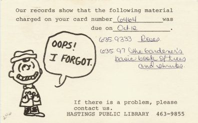 Overdue Book Notices on Postal Cards