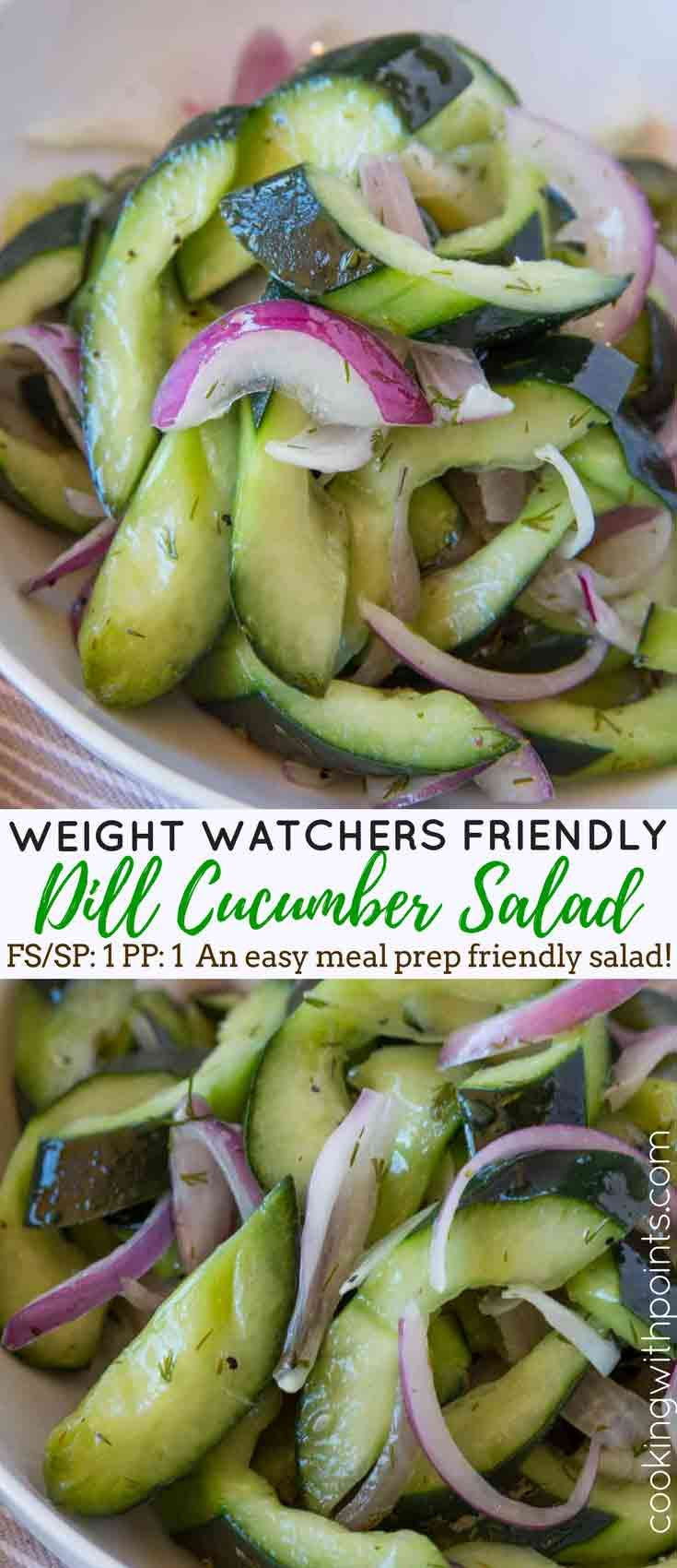 Cucumber Salad with red onions and dill in a quick slightly sweetened vinegar dressing with no added fat is just 1 smart point per serving and the perfect side dish to your meal you can make ahead and even pack for easy lunches.