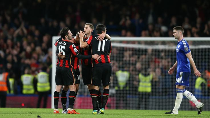 @Bournemouth Glenn Murray scored a dramatic late winning goal as Bournemouth recorded one of the most famous wins in their history against Chelsea at Stamford Bridge #9ine