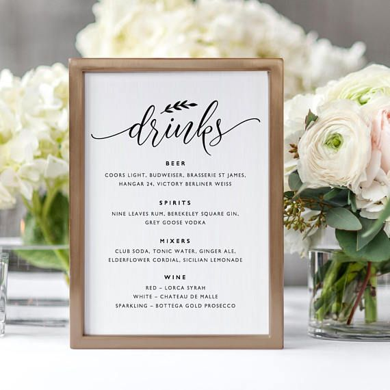 Printable Alcohol Drinks and Bar Decor with a Simple Black Theme for Receptions and Partys 5x7 and 8x10 Shower and Wedding Table Signs