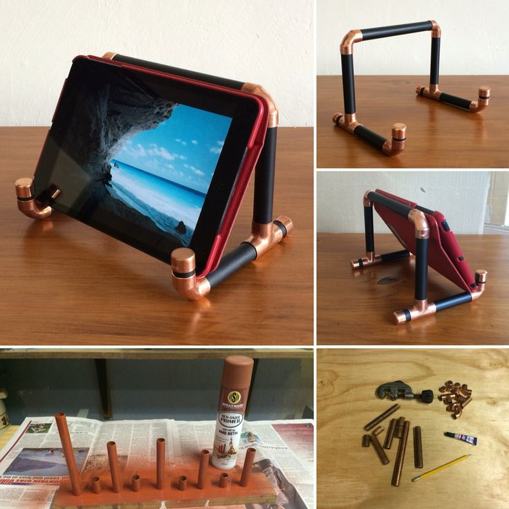 Copper Pipe iPad Stand.  Bare copper fittings with pipes sprayed matte black.