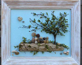 """Wall Pebble Art, Ocean Pebble Art, Unique Pebble, Pebble Art Couple, Pebble Picture, Framed Pebble Art, """"open"""" 8×10"""